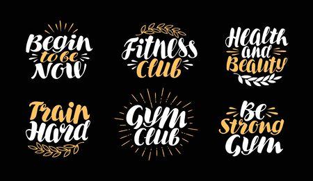 motivator: Fitness, gym, bodybuilding label. Sport symbol set. Lettering, calligraphy vector illustration Illustration