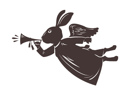 humorous: Easter symbol. Rabbit plays the trumpet. Vector illustration