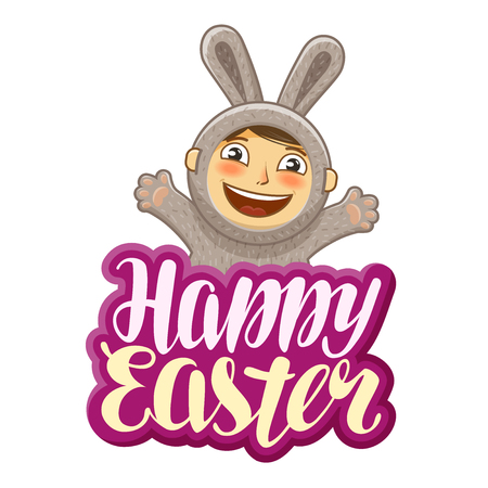 Happy Easter, greeting card. Funny rabbit, holiday label. Lettering, calligraphy vector illustration