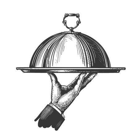 für warme Gerichte Kellner Hand hält Tablett von Hand gezeichnet. Illustration für Design Menü Restaurant oder Café. Sketch Vektor