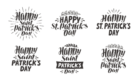 saint: Saint Patricks Day, lettering. Label set, vector illustration Illustration