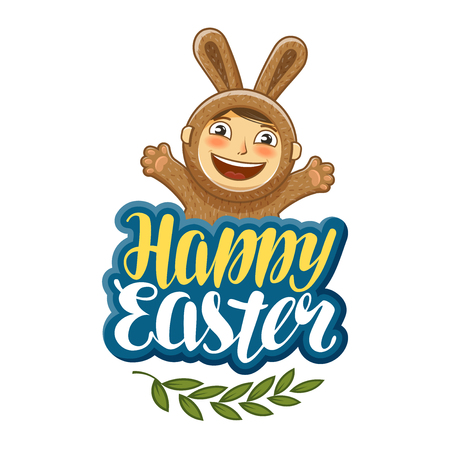 greeting season: Vector illustration of happy Easter, greeting card. Funny child in bunny costume. Lettering typography isolated on white background