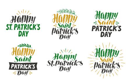 feast of saint patrick: Happy saint Patricks day, greeting card. Beer festival, label set. Lettering, calligraphy vector illustration Illustration