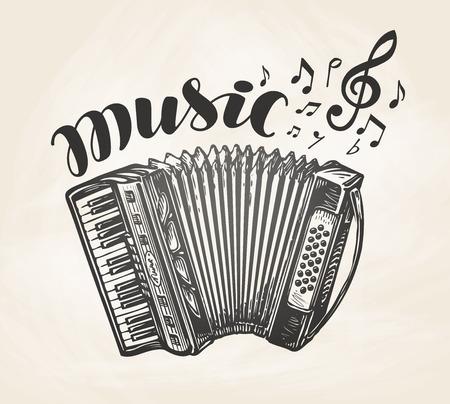 acordeón: Acordeón clásico dibujado mano. Instrumento musical del vintage. Símbolo de la música, ilustración vectorial