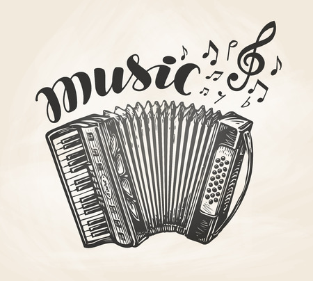 chanson: Hand drawn classic accordion. Vintage musical instrument. Music symbol, vector illustration