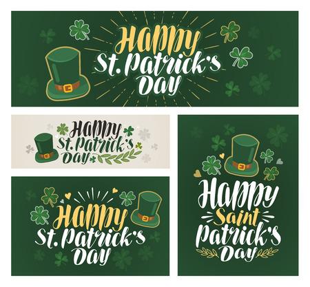 patrick: Happy saint Patricks day, banner. Irish beer festival, label. Lettering vector illustration Illustration