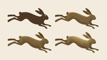 Running hare, set of icons. Rabbit, bunny symbol. Animals, vector illustration