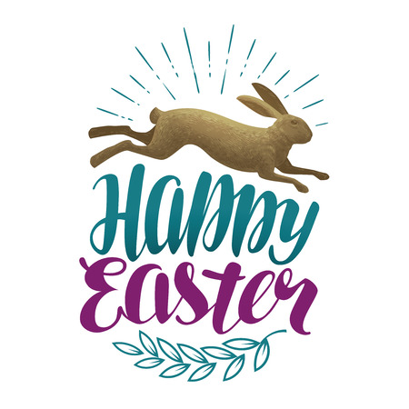 Happy Easter, vintage greeting card. Holiday label. Rabbit, bunny symbol. Lettering vector illustration