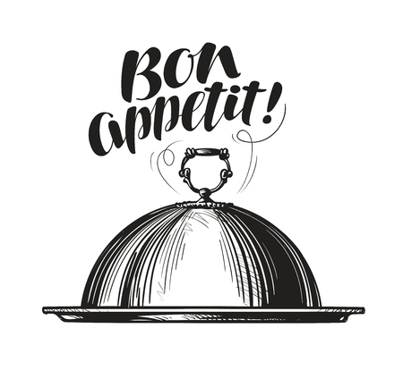 eatery: Restaurant cloche for hot dishes. Tray sketch. Lettering for menu design diner, eatery or cafe. Vector illustration Illustration