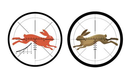 marksman: Hunting icon. Reticle, crosshair. Target symbol. Vector illustration