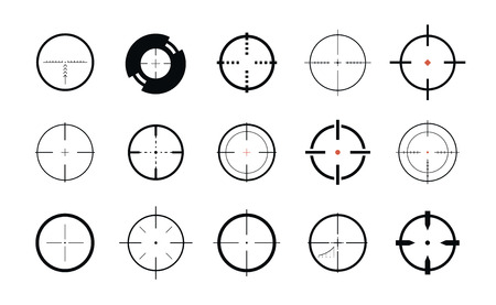 Sniper sight, symbol. Crosshair, target set of icons. Vector illustration isolated on white background Çizim