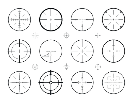 rifleman: Target, sight sniper set of icons. Hunting, rifle scope, crosshair symbol. Vector illustration Illustration