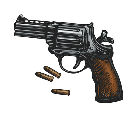Pistol, revolver gun and ammo, sketch. Vintage vector illustration