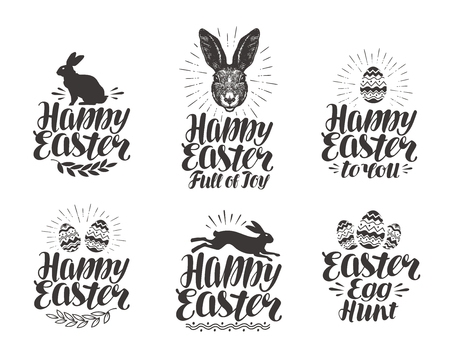 Happy Easter, label set. Ei, konijn, haas symbool. Belettering, kalligrafie vector illustratie