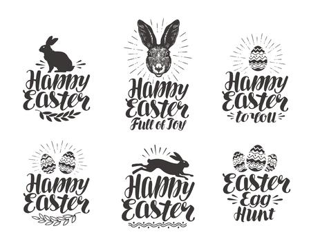 Joyeuses Pâques, jeu d'étiquettes. Oeuf, lapin, symbole de lapin. Lettrage, vecteur calligraphie illustration Banque d'images - 74560035
