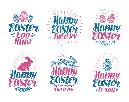 Happy Easter, label set. Handwritten lettering vector illustration
