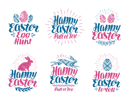 Happy Easter, label set. Handwritten lettering vector illustration