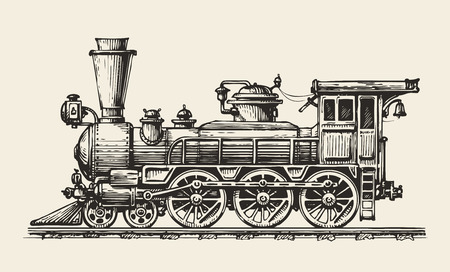boiler: Vintage locomotive. Hand-drawn retro train. Sketch, vector illustration