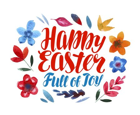 Happy Easter, greeting card. Lettering vector illustration Illustration