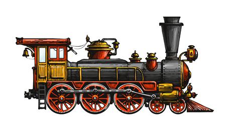 Locomotiva a vapore d'epoca. Treno antico disegnato, trasporto. Illustrazione vettoriale Vettoriali