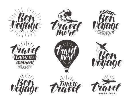 Travel, label set. Journey symbol or icon. Beautiful handwritten lettering vector illustration