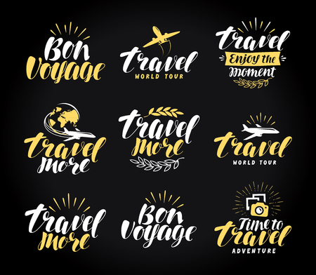 Journey, label set. Travel symbol or icon. Handwritten lettering vector illustration