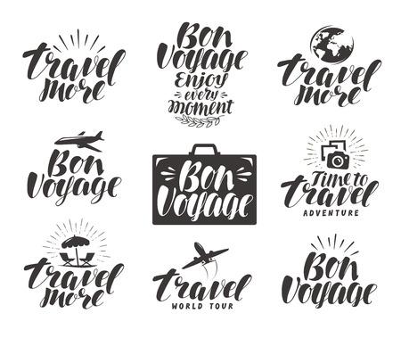 voyage: Travel, label set. Journey icons or symbols. Lettering vector illustration