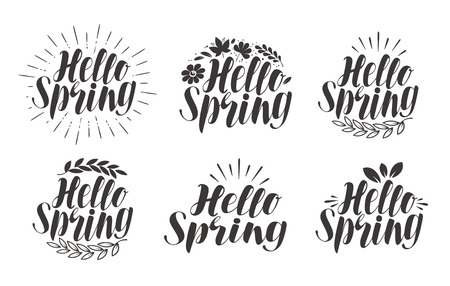 Hello Spring, lettering. Label set, calligraphy. Vector illustration