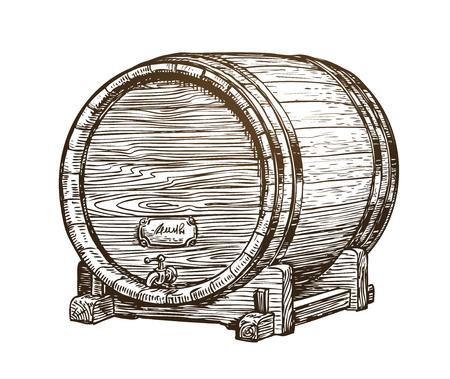 Hand drawn vintage wooden wine cask. Drink, oak barrel sketch. Vector illustration Vettoriali