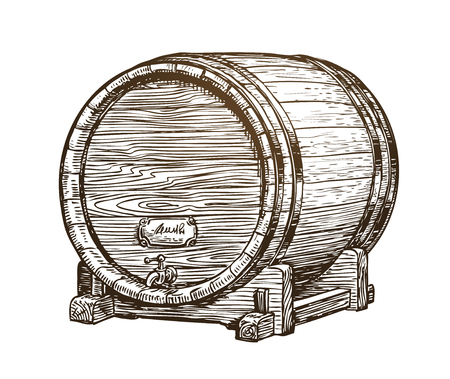 Hand drawn vintage wooden wine cask. Drink, oak barrel sketch. Vector illustration Ilustração