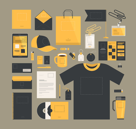 notebook: Business marketing. Corporate identity design, template. Brand, company, logo concept. Vector illustration Illustration