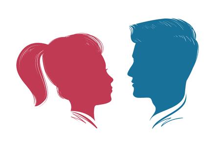 romance: Portrait of man and woman. Head profile, silhouette. Wedding, love, people symbol. Vector illustration Illustration
