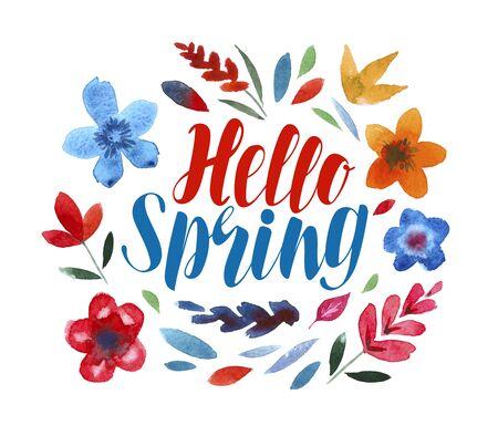 Hello spring, lettering. Flower pattern
