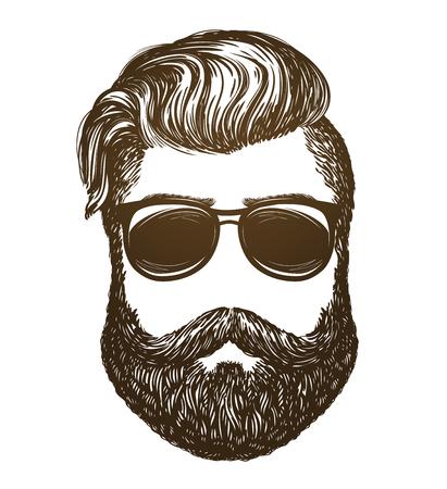 Hand drawn portrait of man with beard. Hipster, sunglasses sketch. Vintage vector illustration Illustration