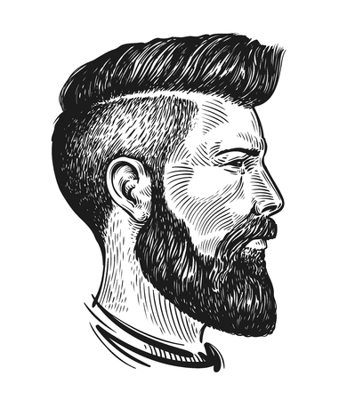 Hand drawn portrait of man in profile. Hipster sketch. Vintage vector illustration