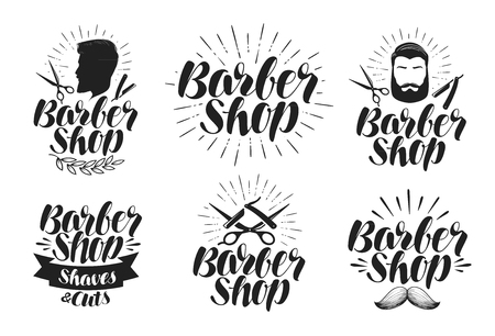 shaver: Barber shop, label set. Shave, haircut, beauty salon logo. Lettering, vector illustration Illustration