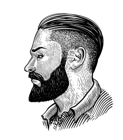手は、プロファイルのひげを生やした男の肖像画を描いた。流行に敏感なスケッチ。ビンテージ ベクトル図