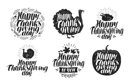 gobbler: Happy Thanksgiving, label set. Holiday icons or symbols. Lettering, vector illustration