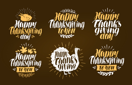 gobbler: Happy Thanksgiving, label set. Holiday symbol or logo. Lettering vector illustration