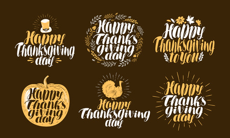 gobbler: Happy Thanksgiving, label set. Holiday logo, symbol. Beautiful handwritten lettering. Illustration