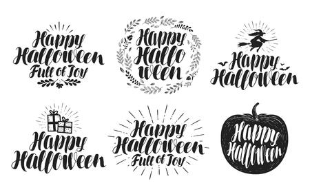 wicked set: Happy Halloween, label set. Holiday symbol or logo. Beautiful handwritten lettering, vector illustration