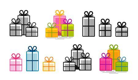 surprise box: Gifts, set icons. Surprise, shopping, box symbol or logo. Vector illustration