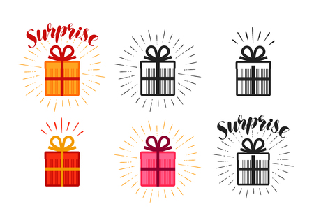 holiday party: Gift box, surprise set of icons. Lettering vector illustration Illustration