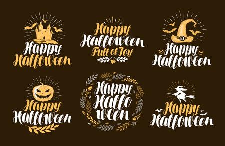 Halloween, label set. Holiday icons. Handwritten lettering, vector illustration