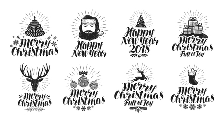 happy new year text: Merry Christmas and Happy New Year, label set. Xmas, holiday icons or logos. Lettering vector illustration Illustration