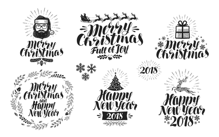 claus: Merry Christmas or Happy New Year, label set. Xmas icon or logo. Typographic design, lettering, calligraphy vector illustration