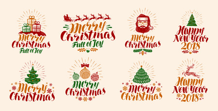 Merry Christmas and Happy New Year, lettering. Xmas, yuletide, holiday label set or icons. Calligraphy vector illustration