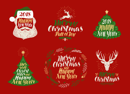 happy new year text: Merry Christmas and Happy New Year, label set. Xmas icons or logos. Lettering, calligraphy vector illustration Illustration