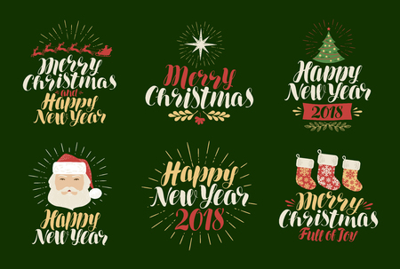 claus: Merry Christmas, Happy New Year, label set. Xmas, yuletide, holiday icon or logo. Lettering, calligraphy vector illustration Illustration