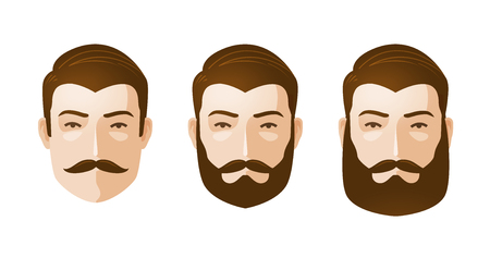 stylish hair: Portrait of beautiful men. Man with beard and mustache. Cartoon vector illustration isolated on white background